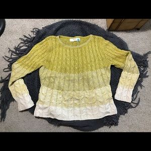 Anthropologie tri- color knit sweater Large